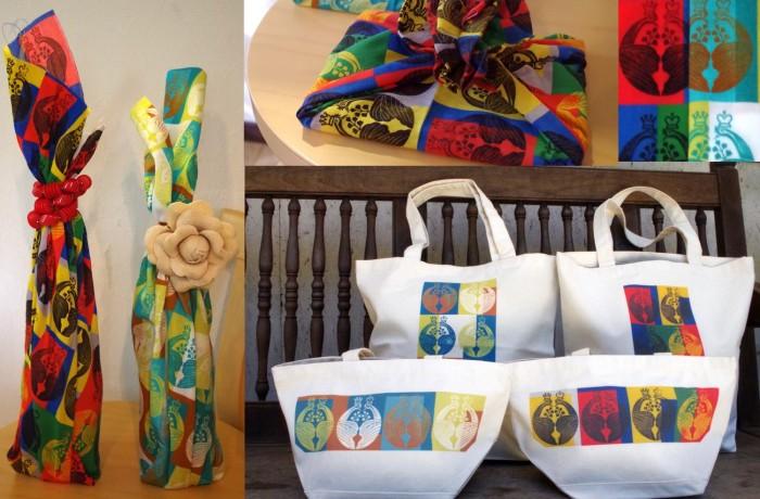 国際芸術家センター(IAC)×TAKENOBU共催イベント、出展作品botanical ango、家紋手ぬぐい、トートバッグ